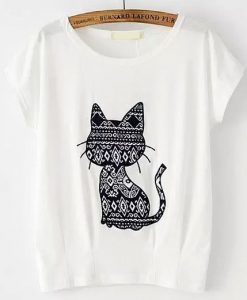 Cat Pattern Patch T-shirt ZK01