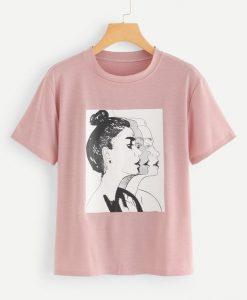 Women Figure Print Tee T-Shirt VL01
